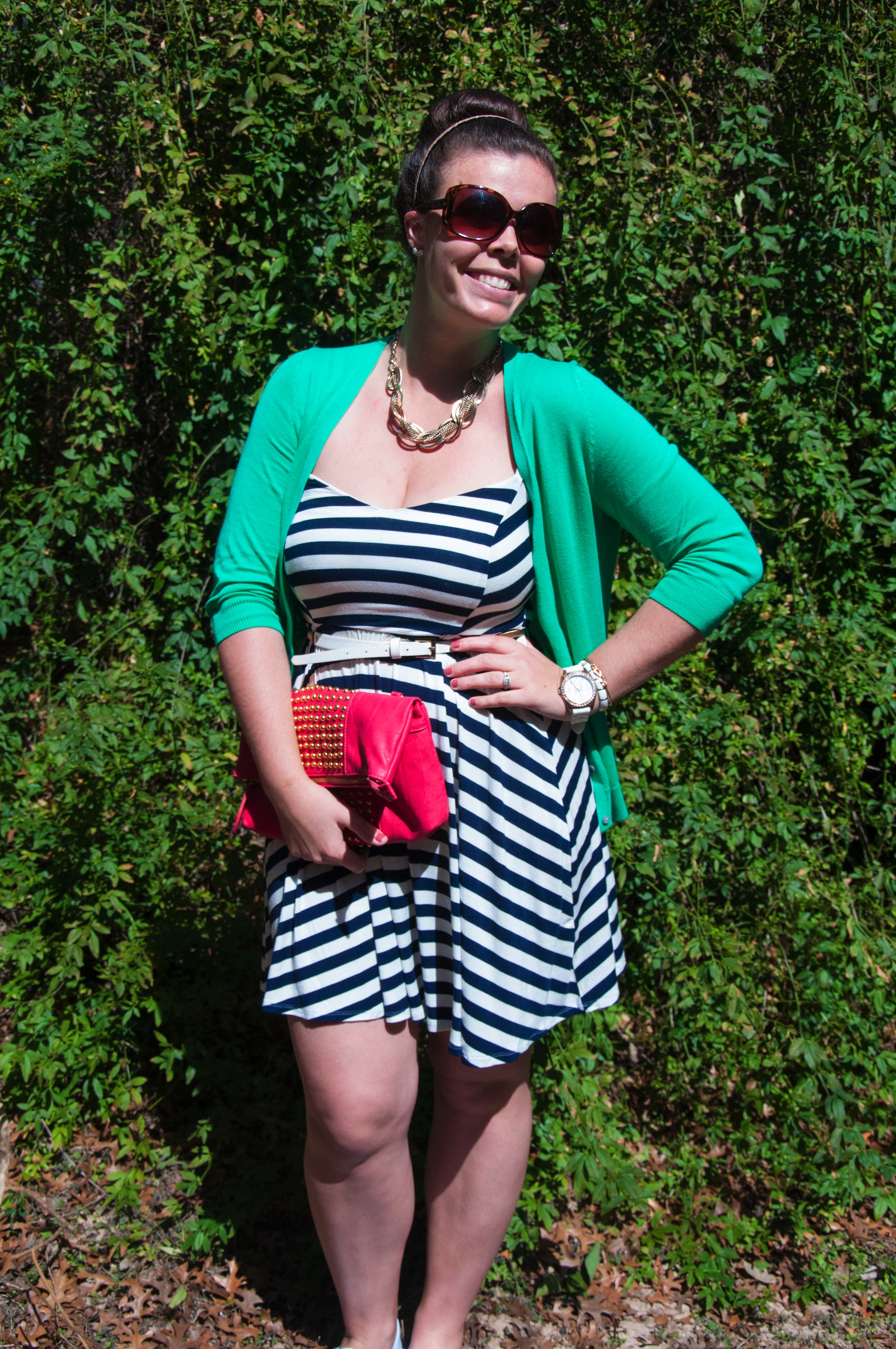 Green and Navy outfit with a pop of pink