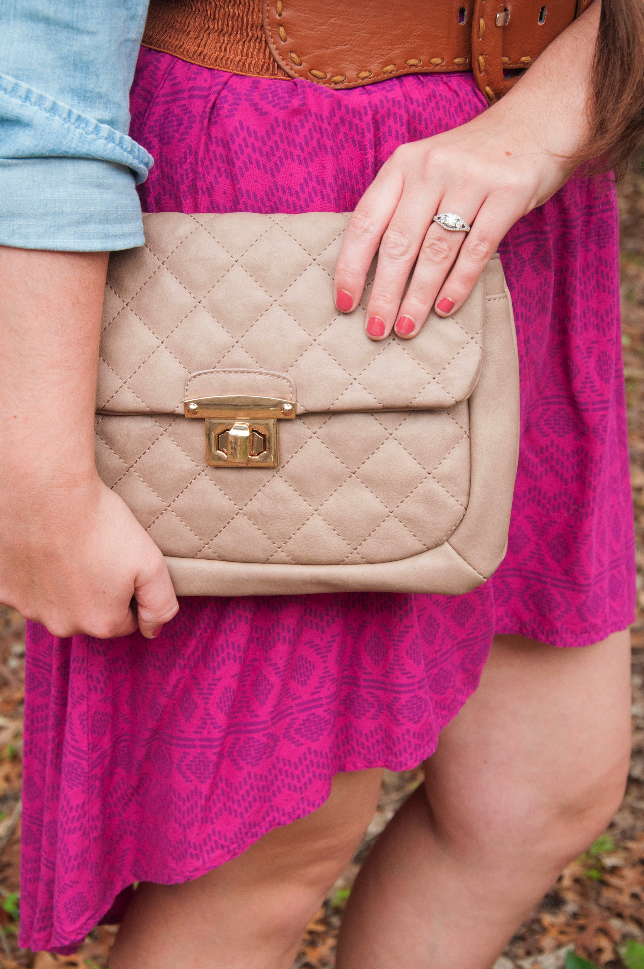 Hi Low skirt with a cute tan clutch
