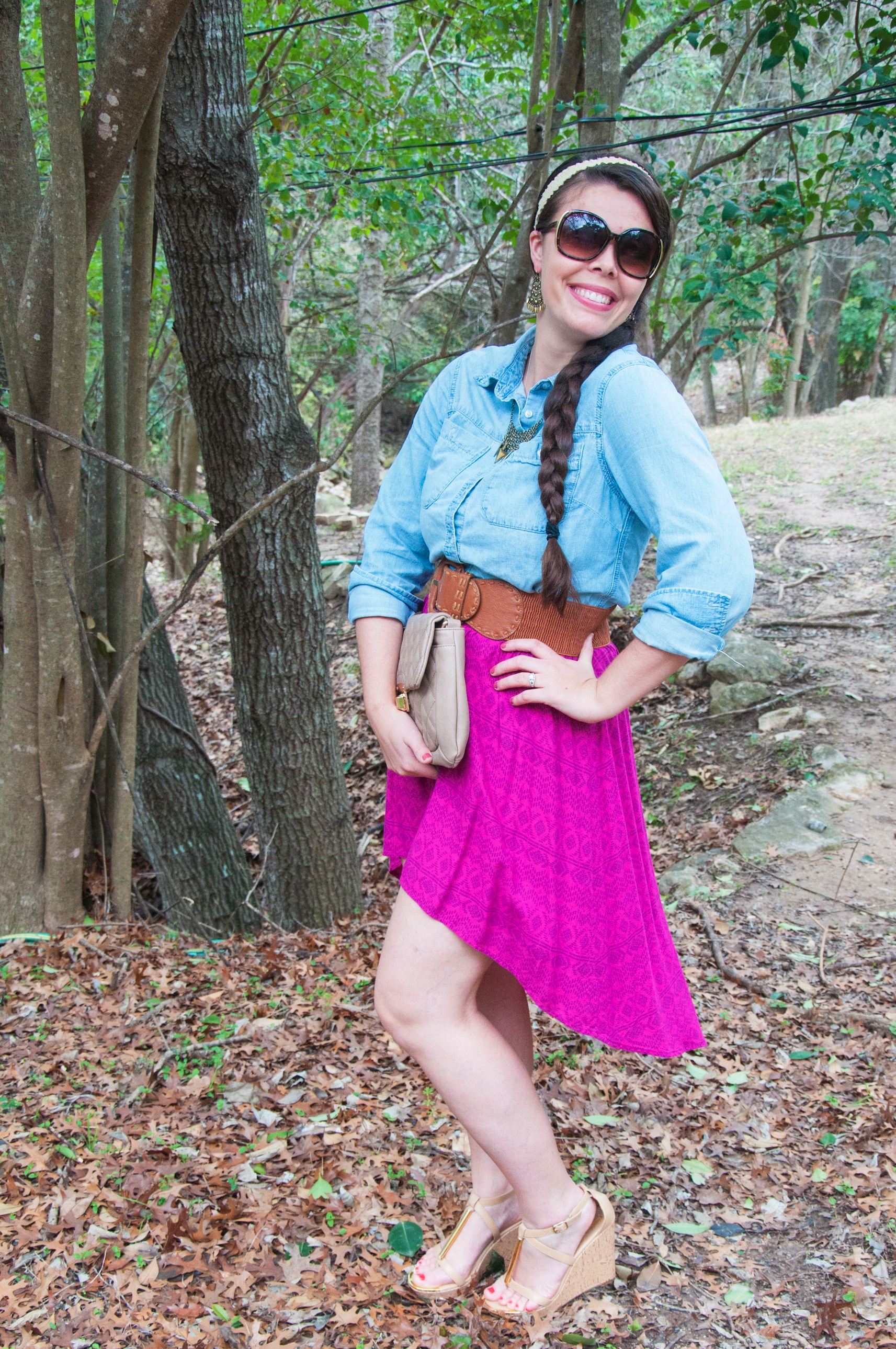 Hi Low skirt with button down top
