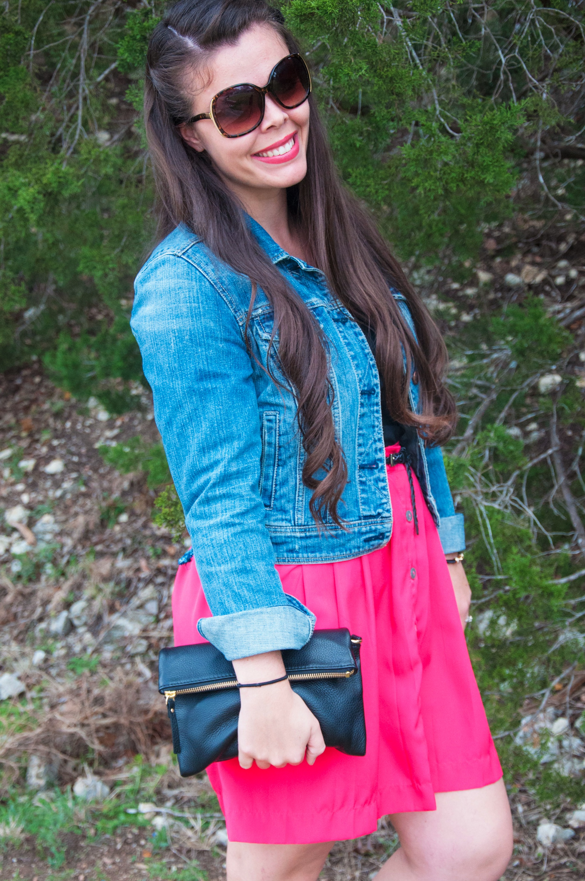 Jean jacket and pink skirt