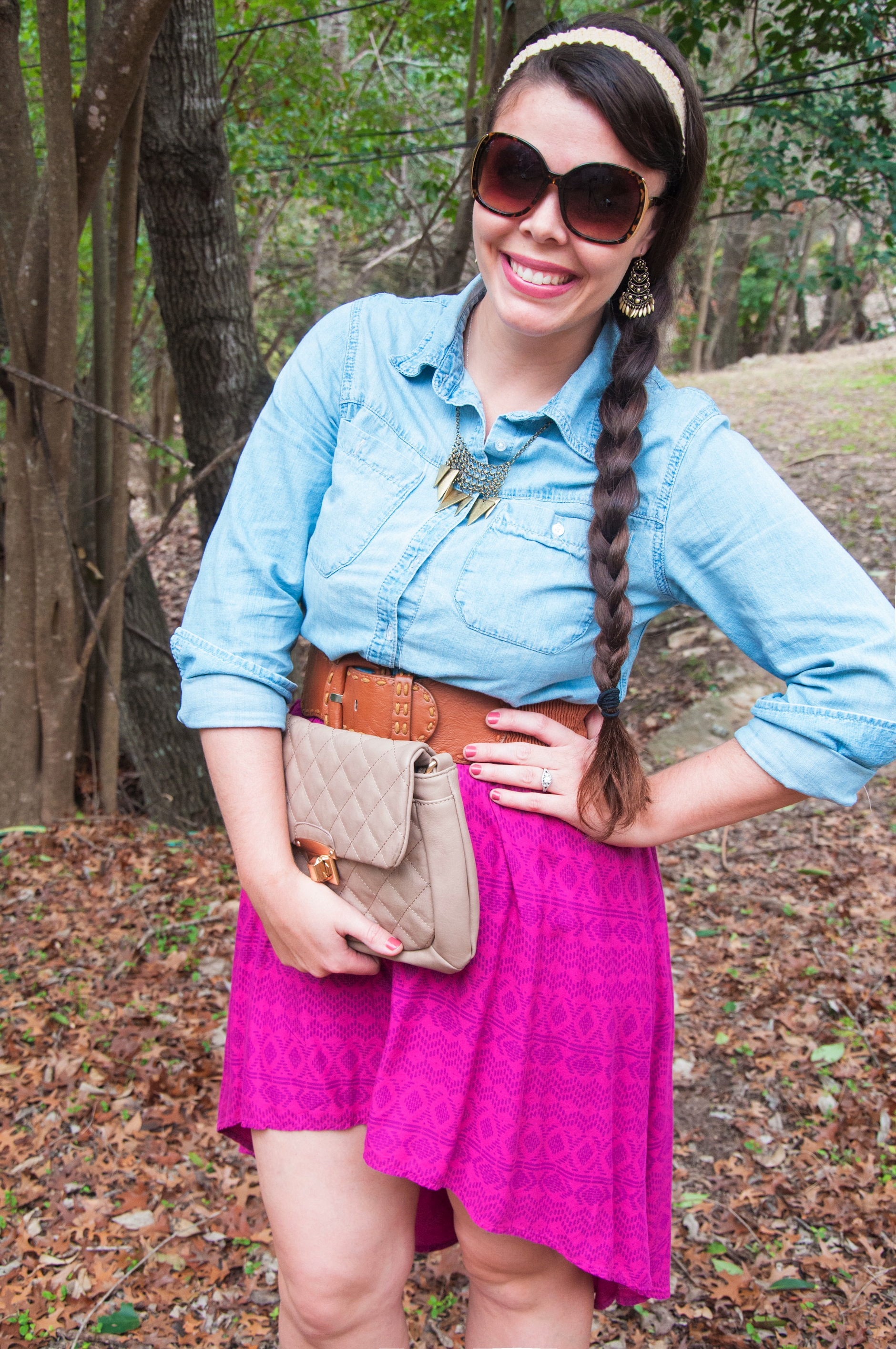 Magenta Hi low skirt with a chambray top