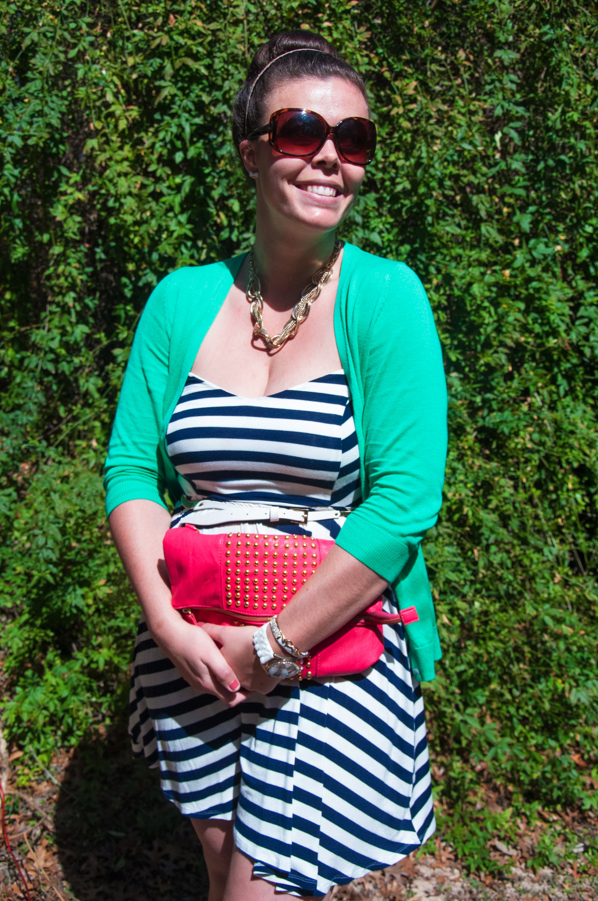 Nautical dress with green and pink accents