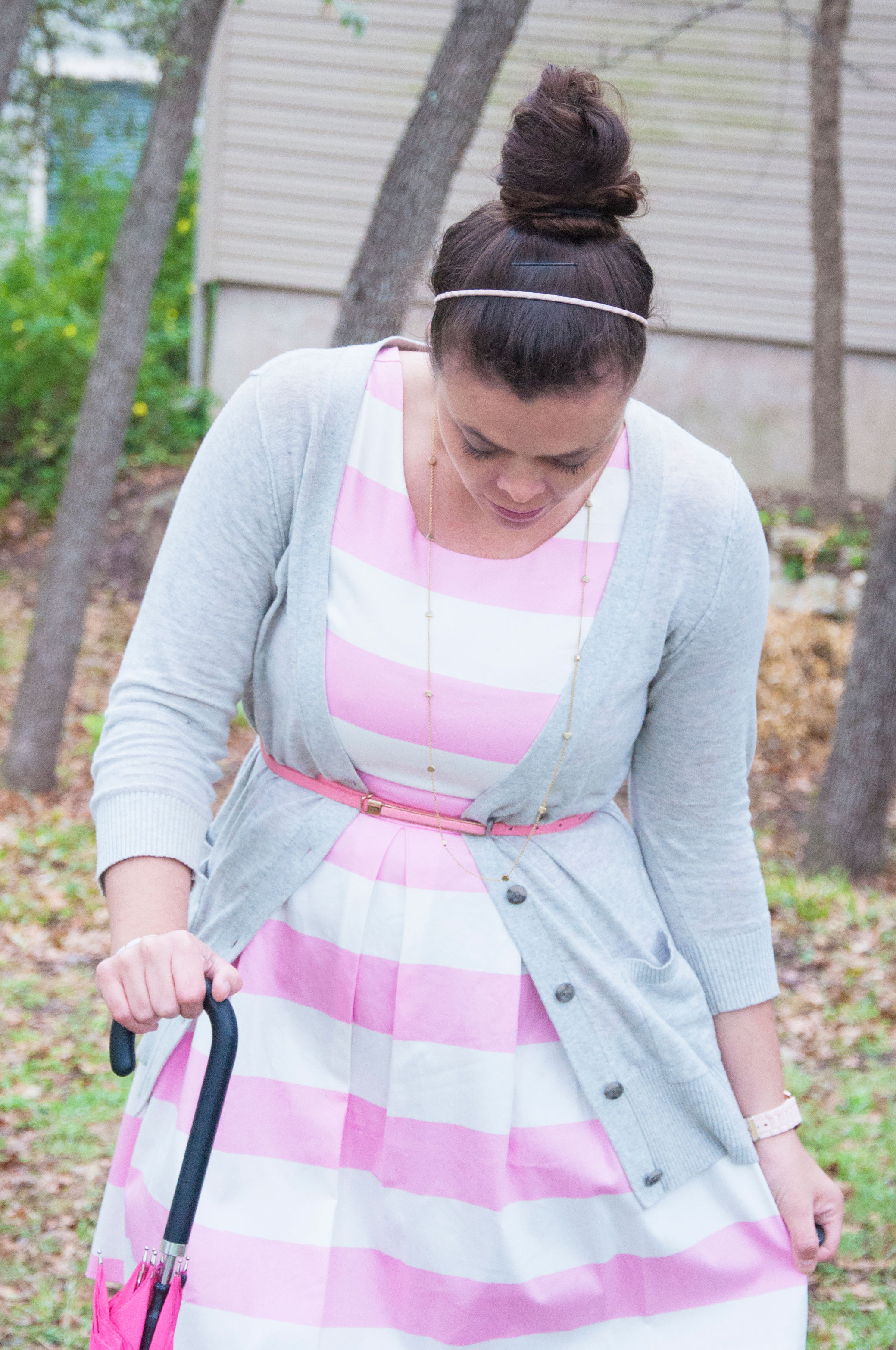 Pink and white striped dress with grey