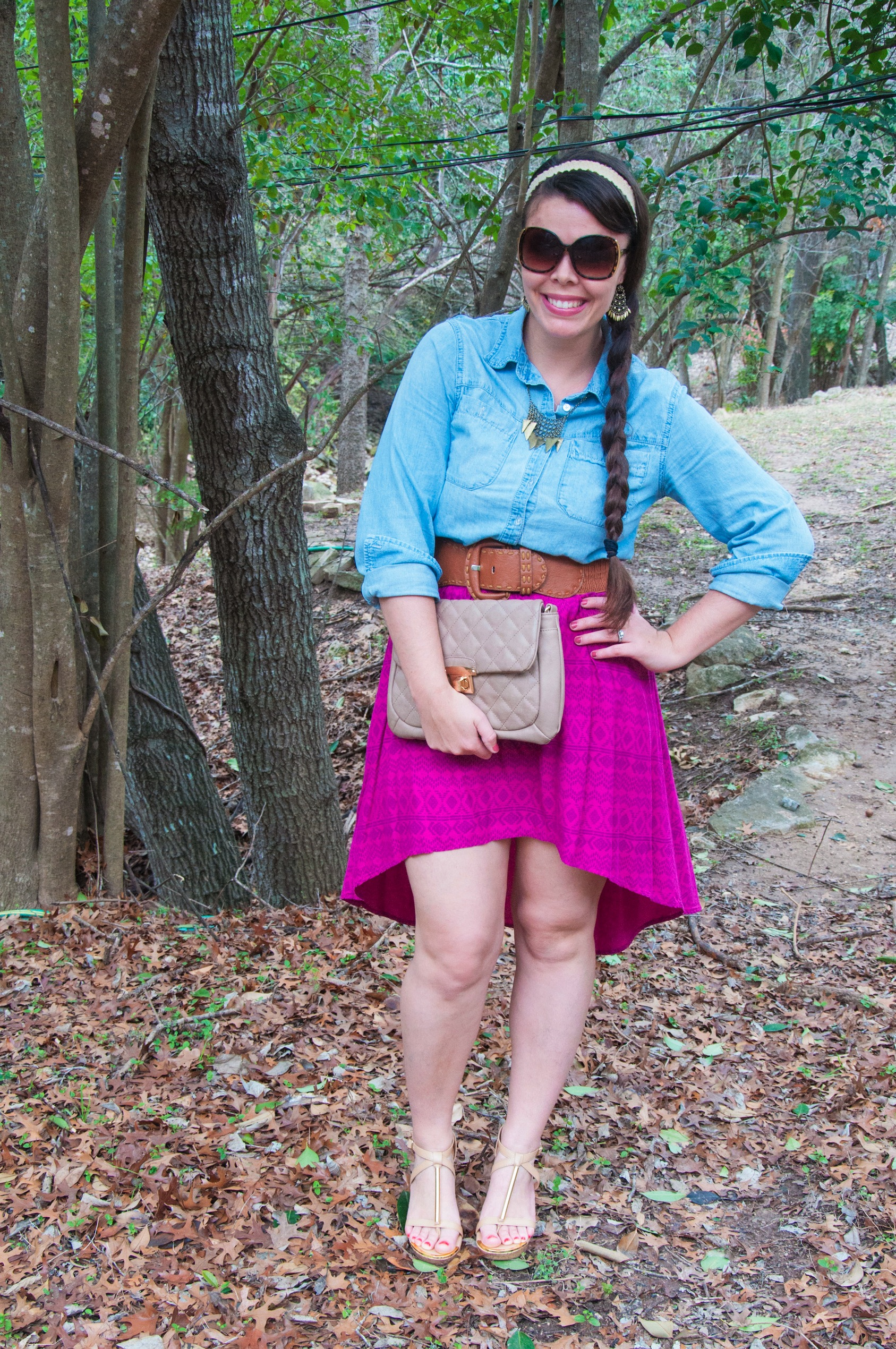 Pink hi low skirt and chambray