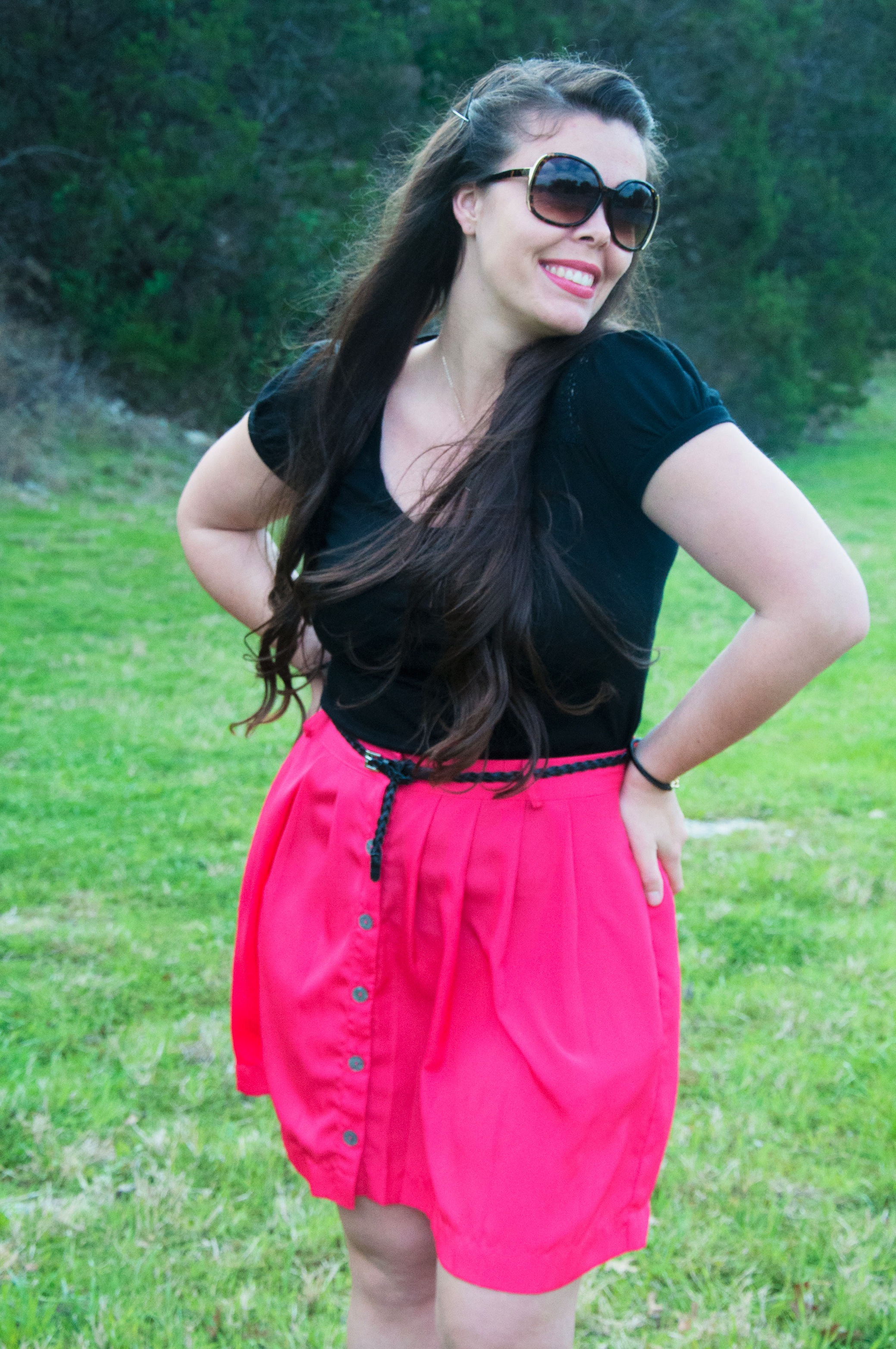 Pink skirt with black top