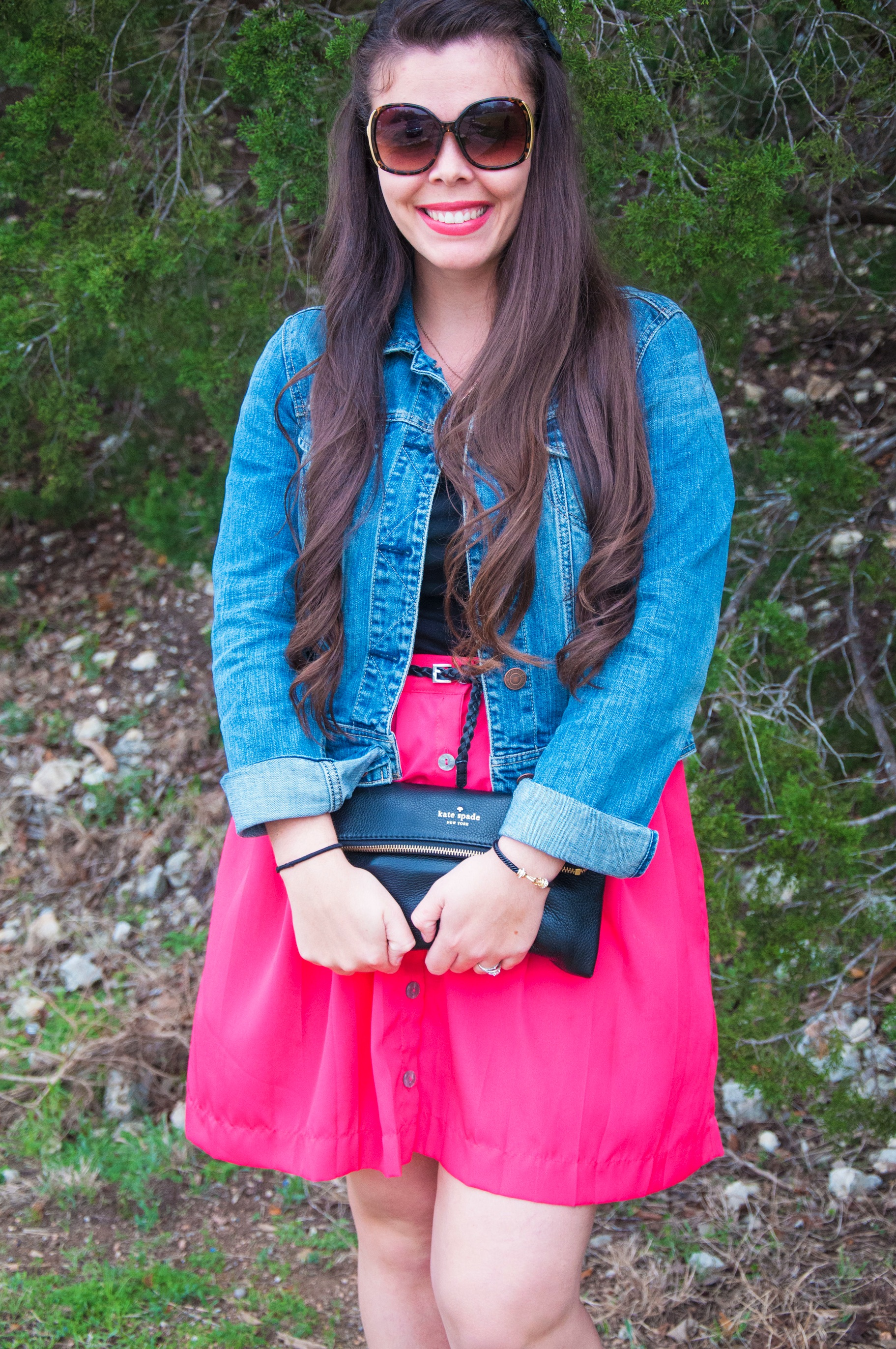 Pink skirt with denim jacket