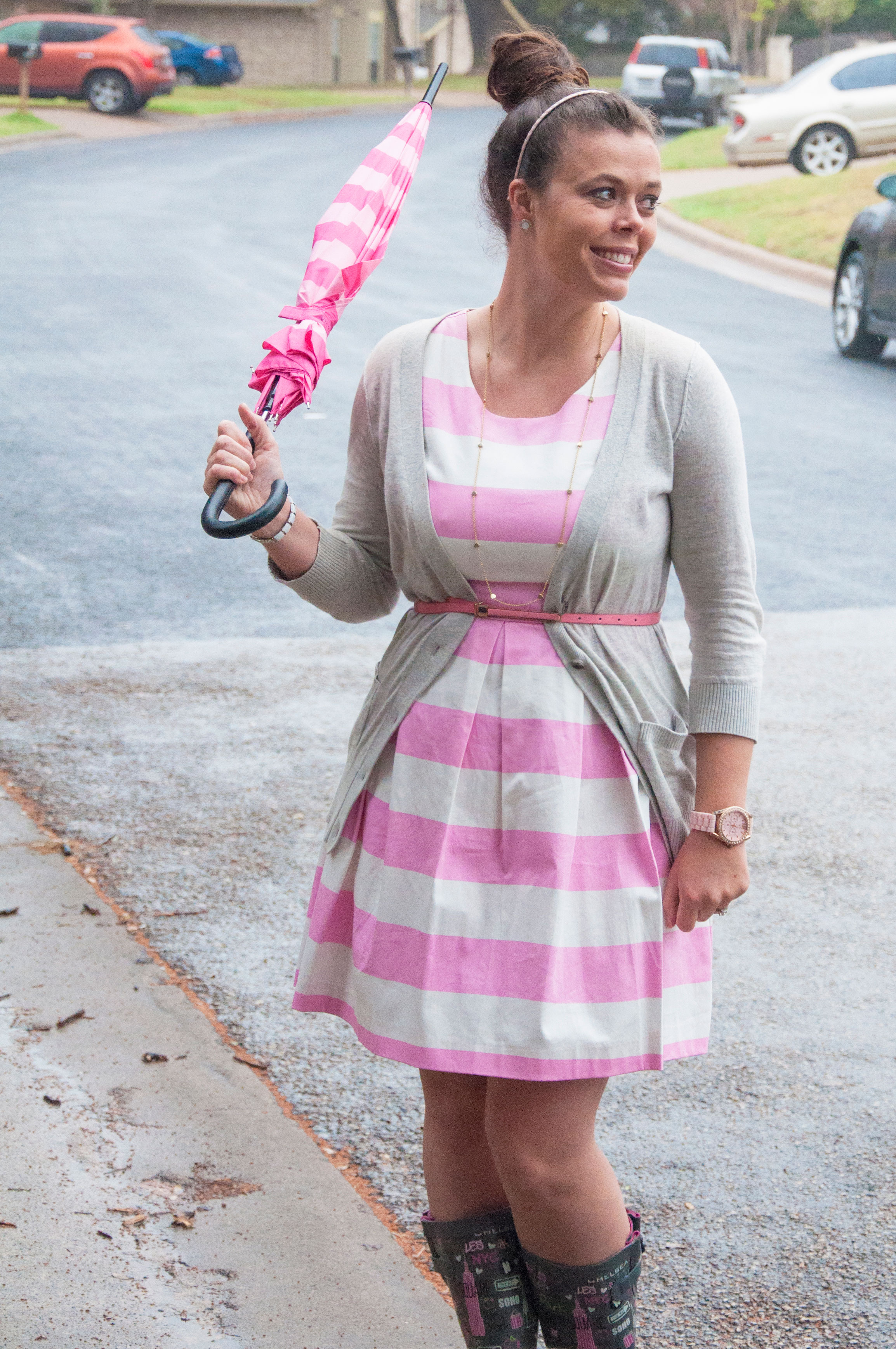 Pink striped dress with rainboots