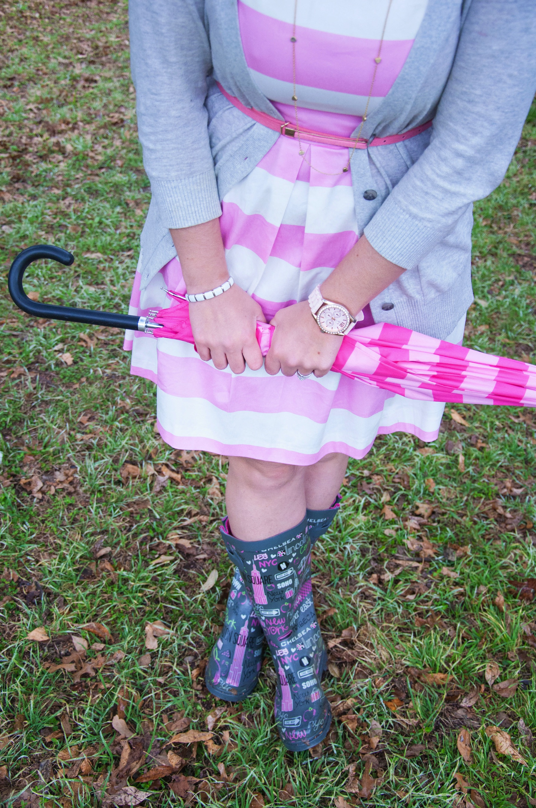 Rainboots and umbrella
