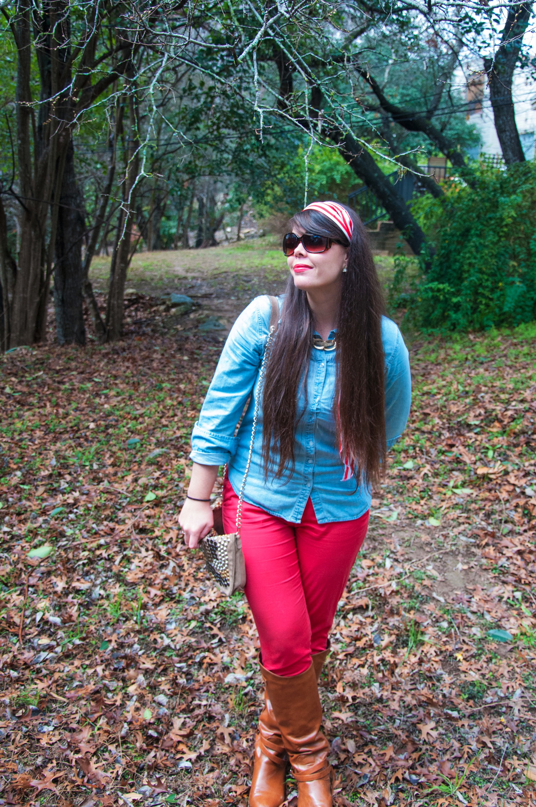 Red pants and chambray