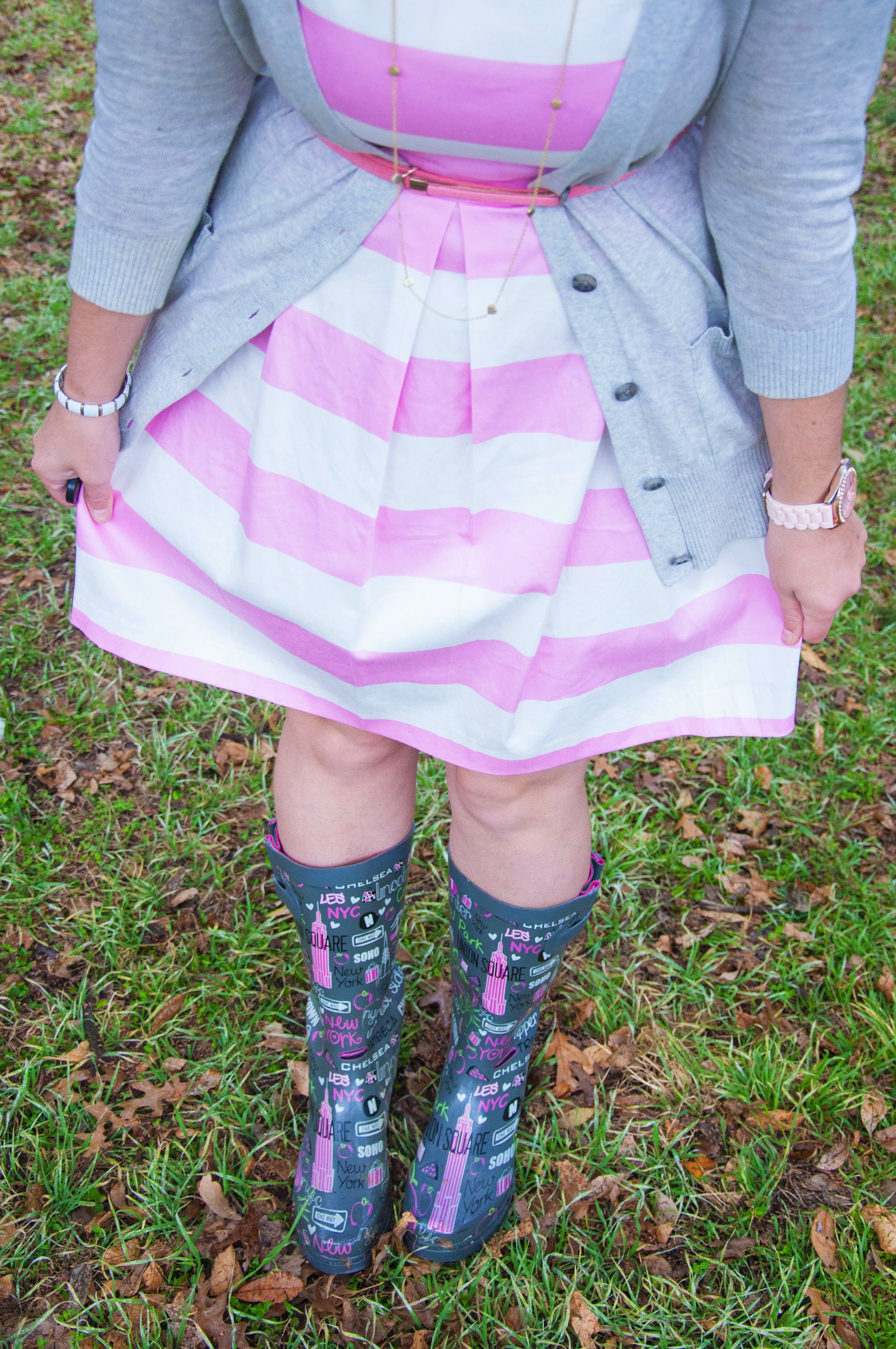 Stripes and rainboots