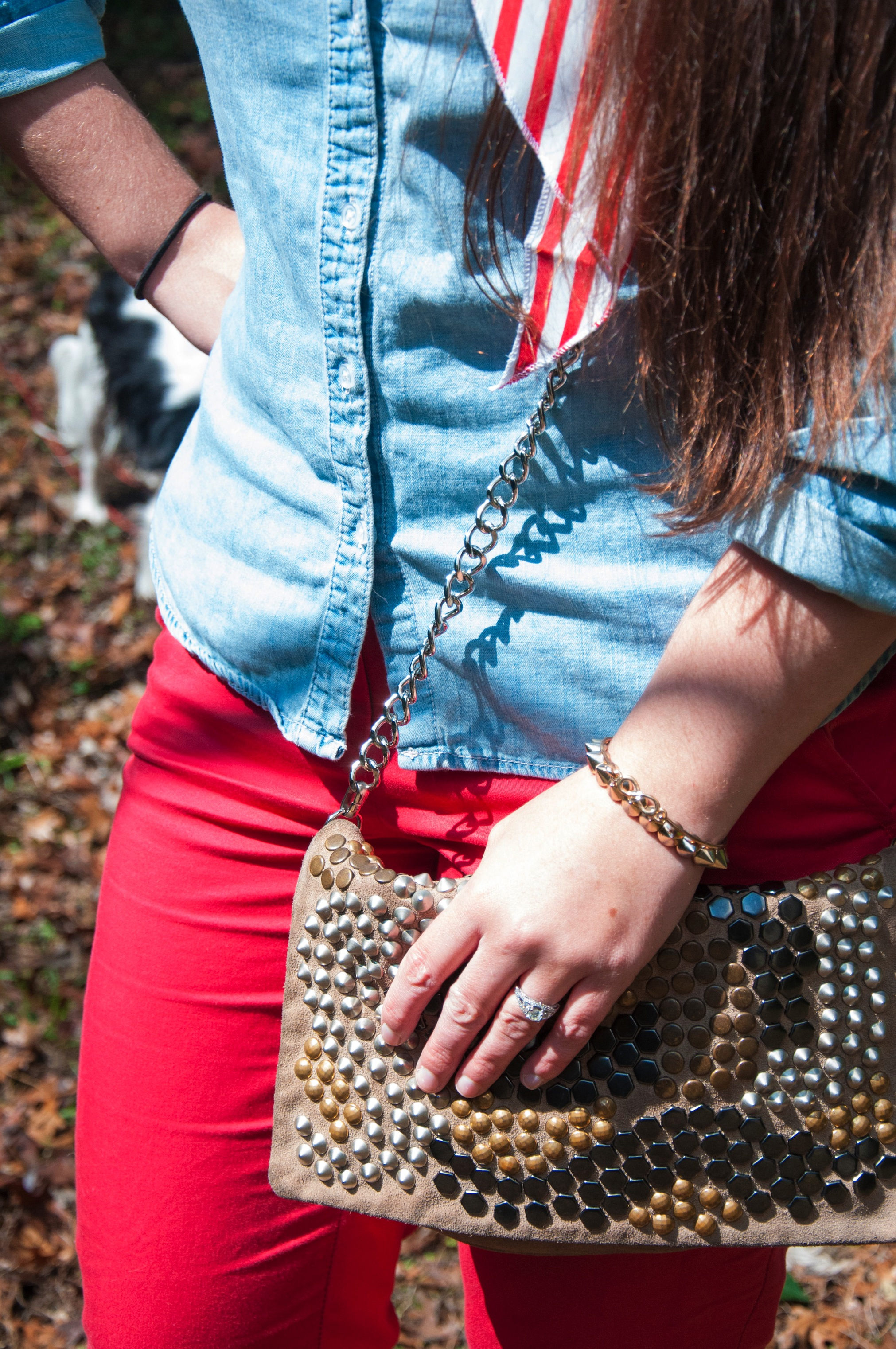 Studded leather purse