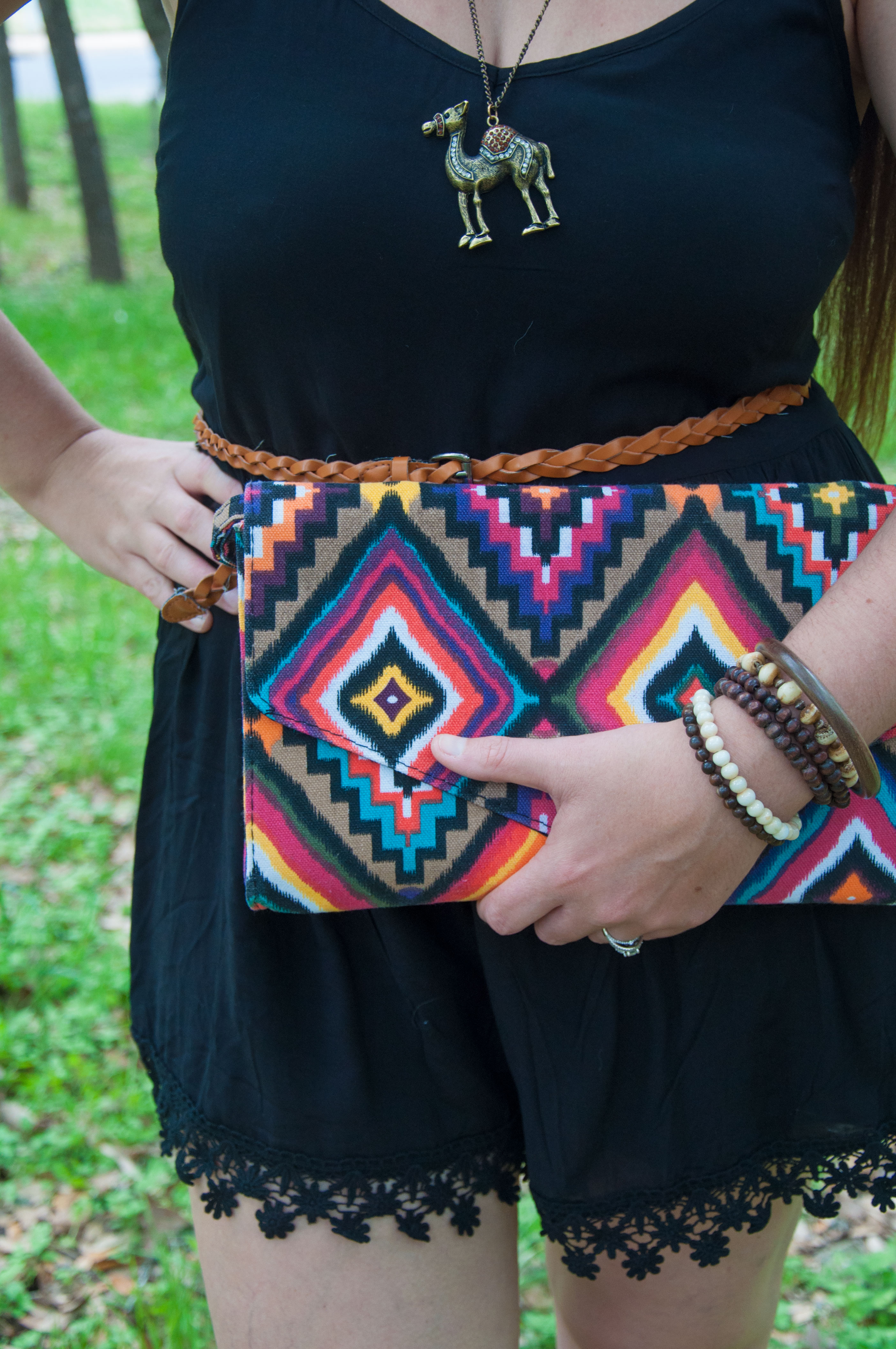 Aztec print clutch and camel necklace