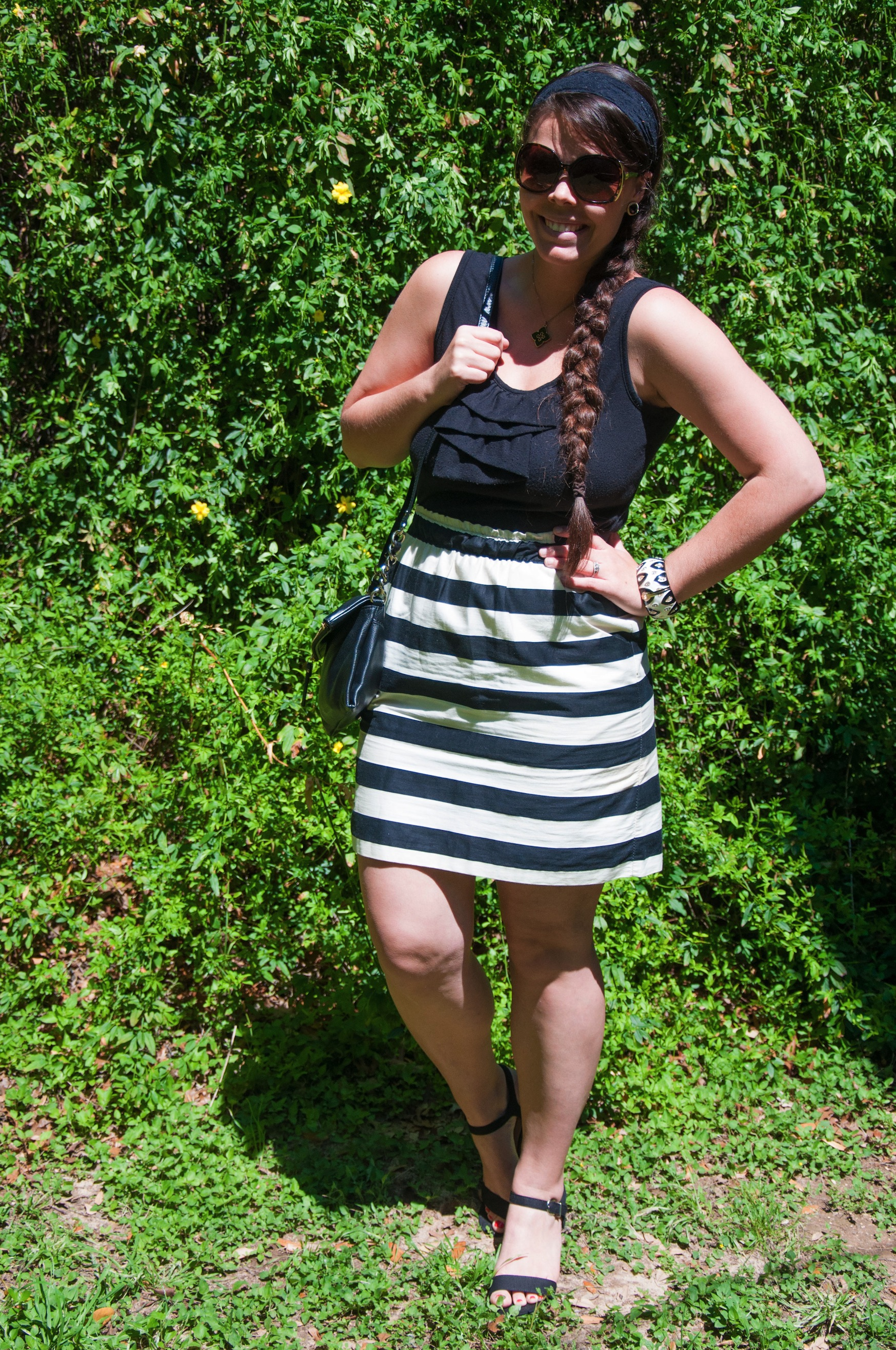 Black and white dress with stripes