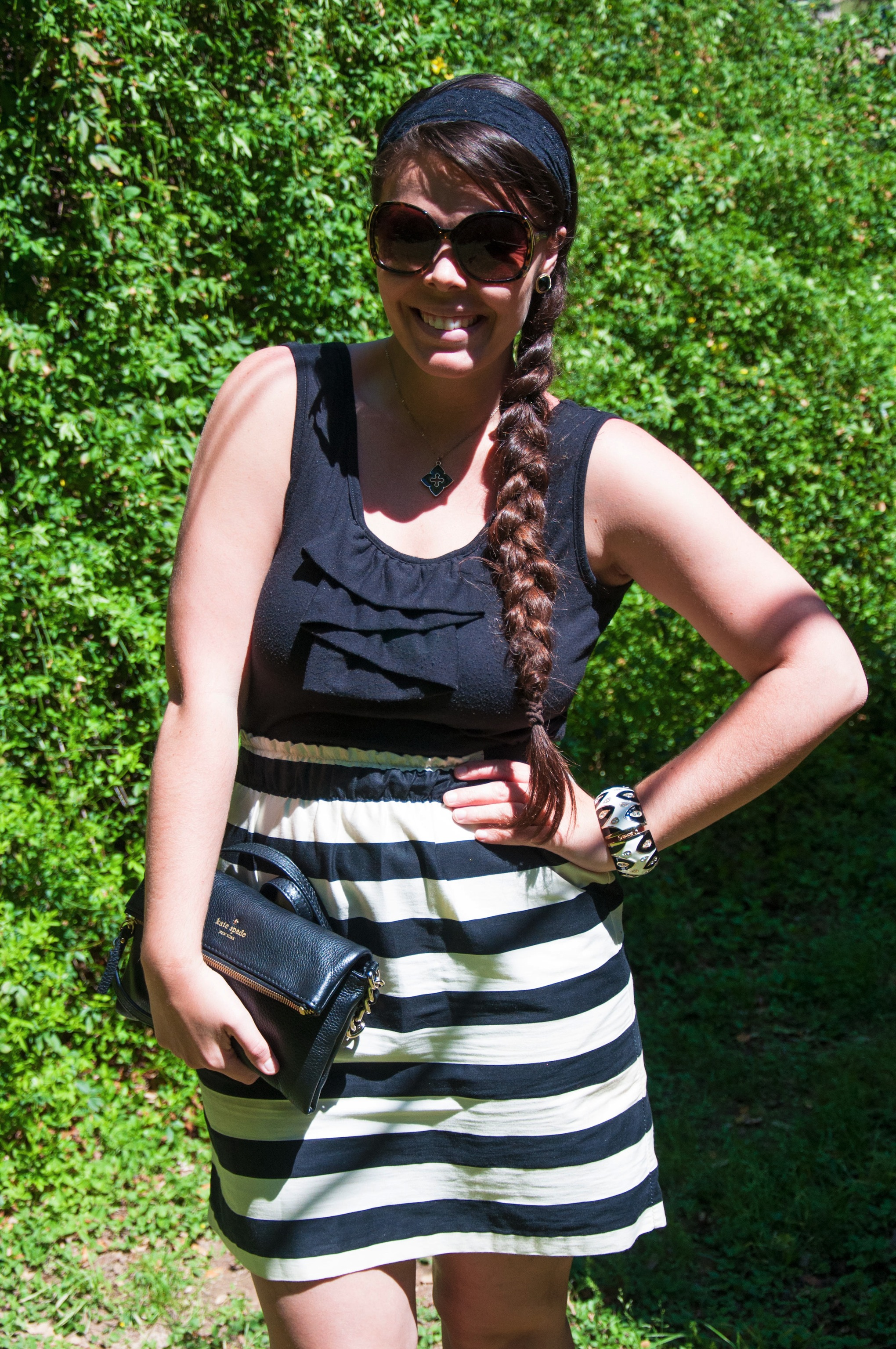 Black and white skirt with black top