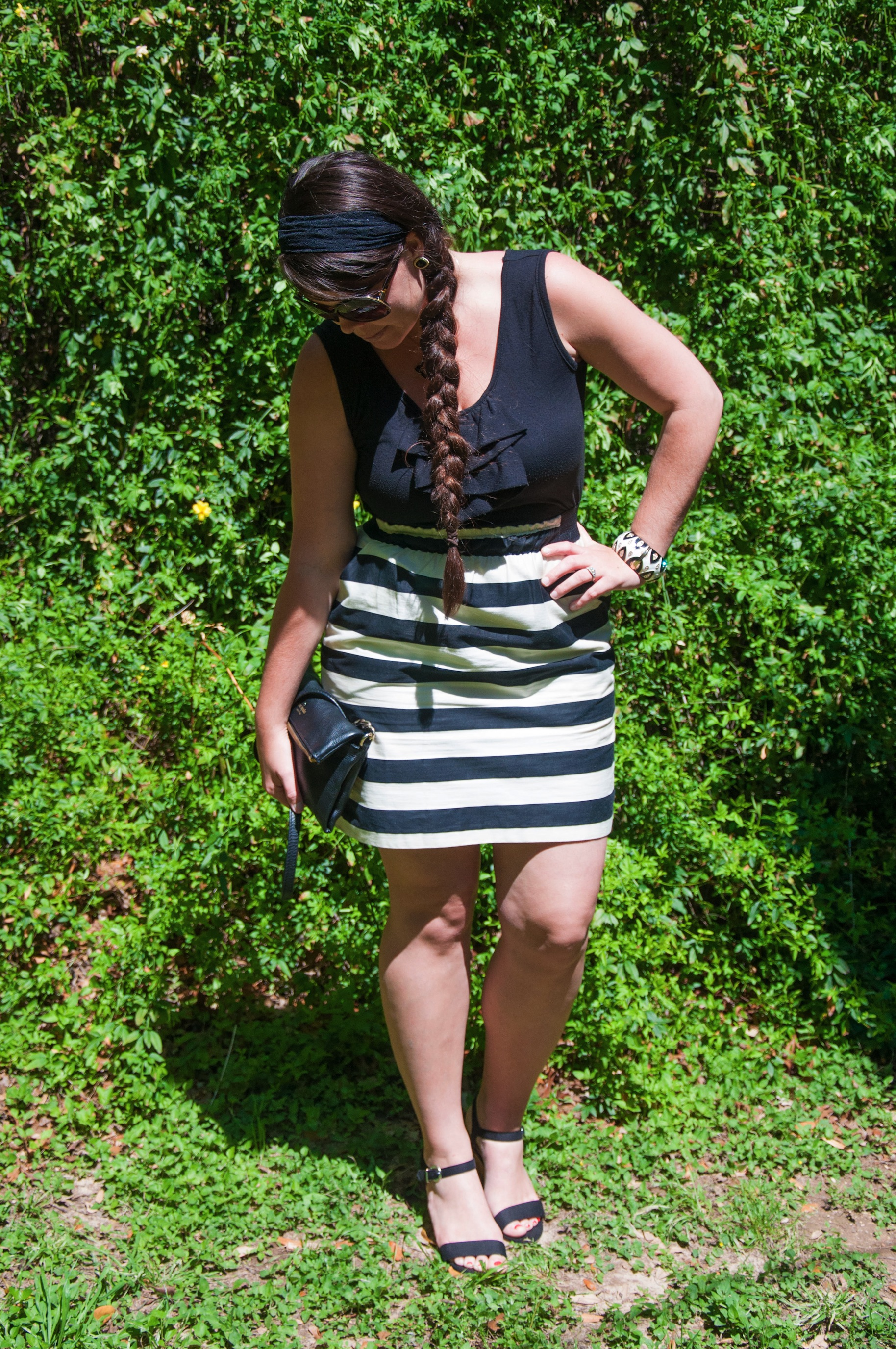 Black and white striped dress with Kate Spade bag