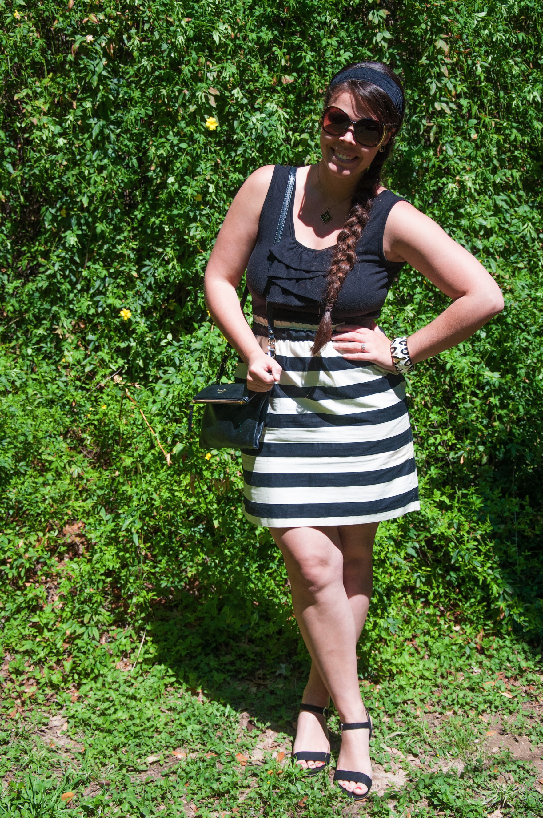 Black and white stripes with ruffles