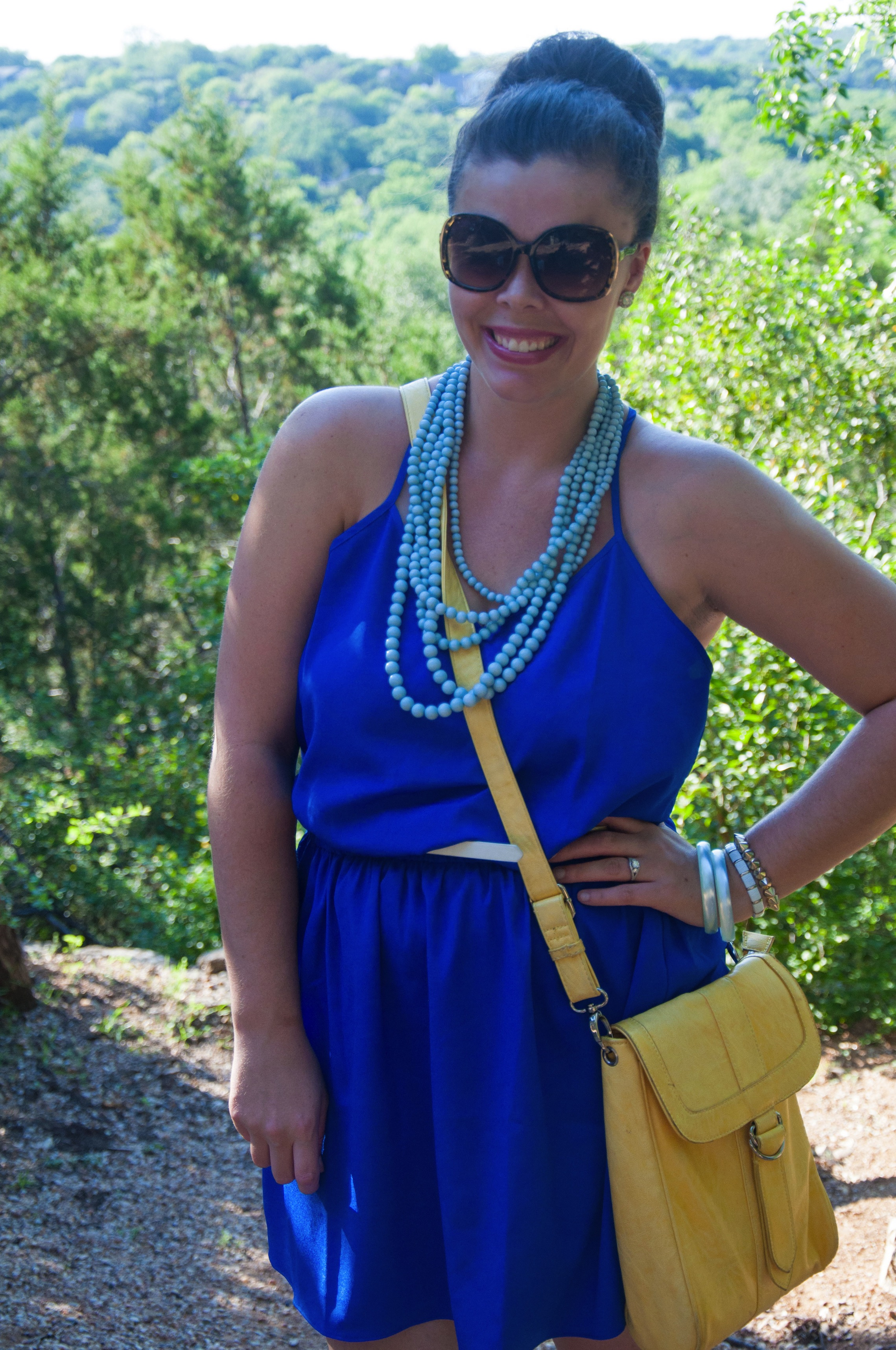 Cobalt dress with turquoise beaded necklace