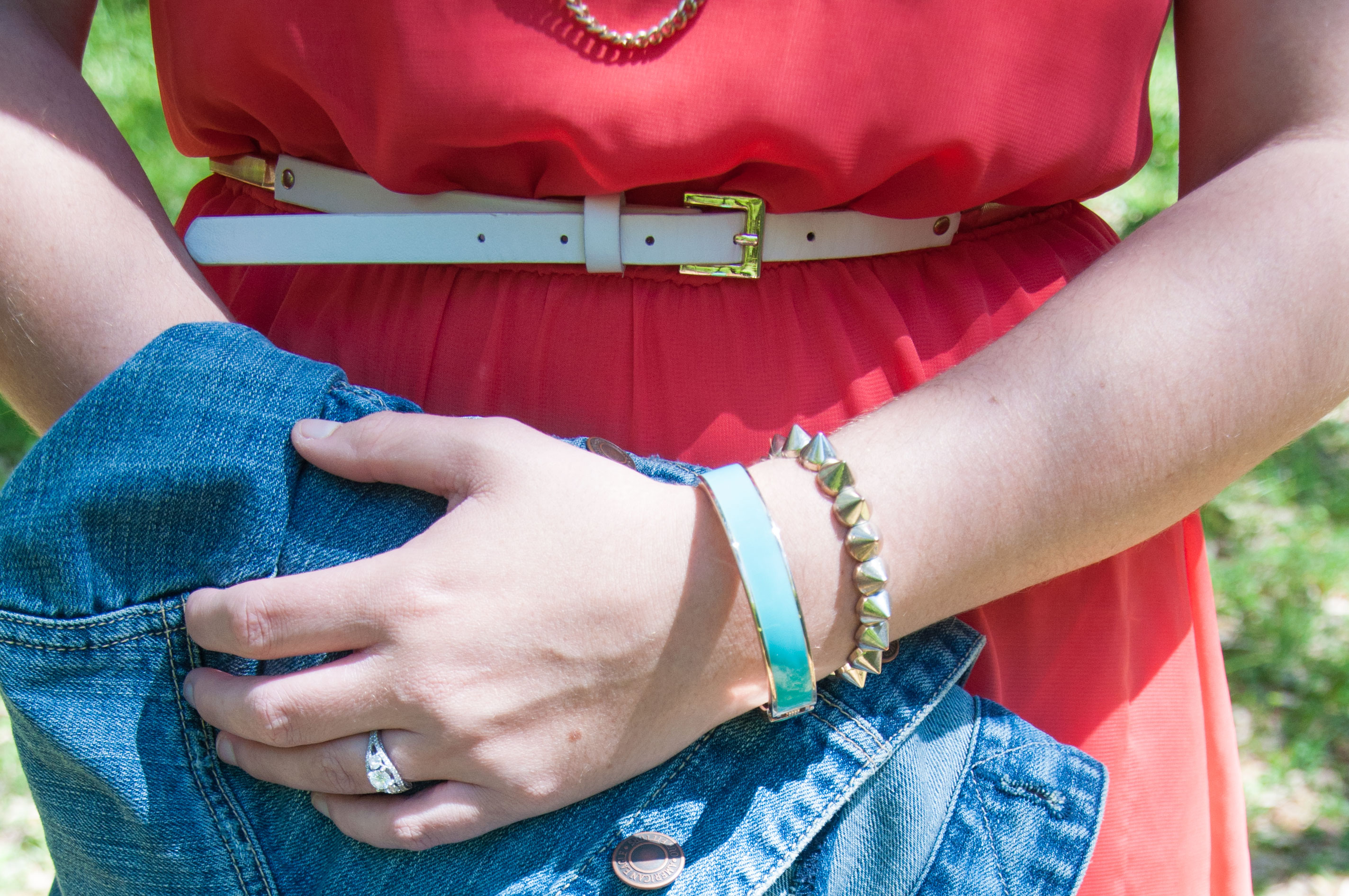 Coral and turquoise outfit