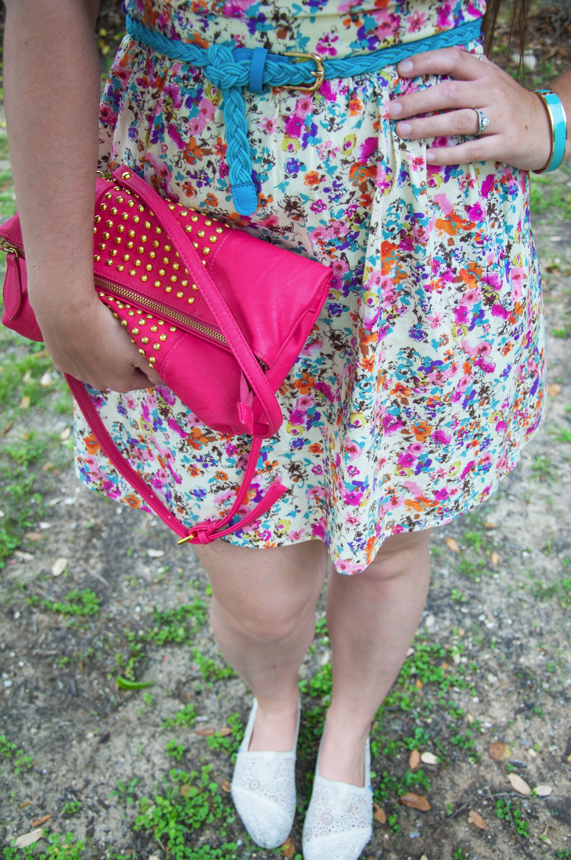 Floral dress with turquoise and pink