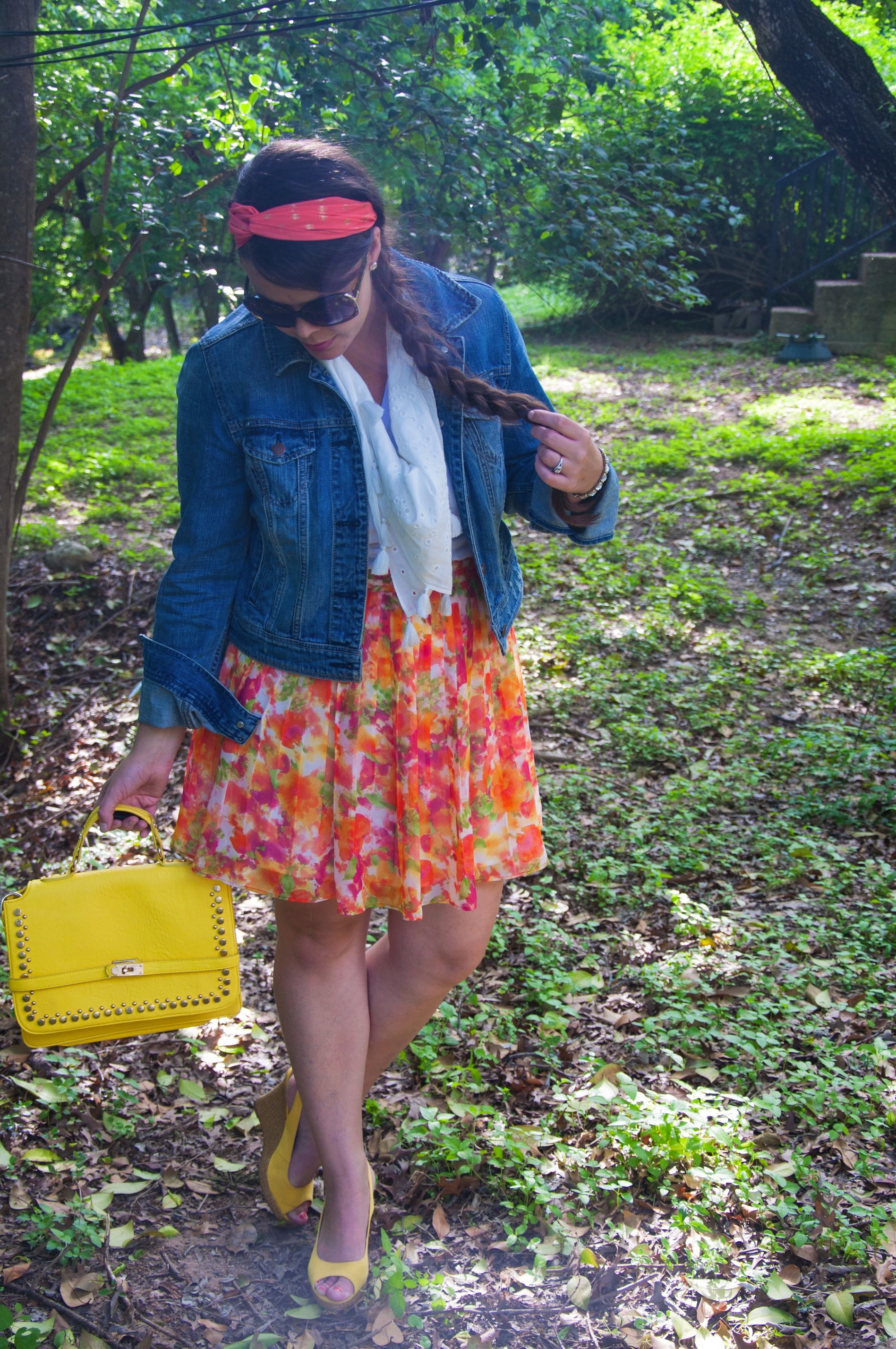 Floral skirt with denim jacket