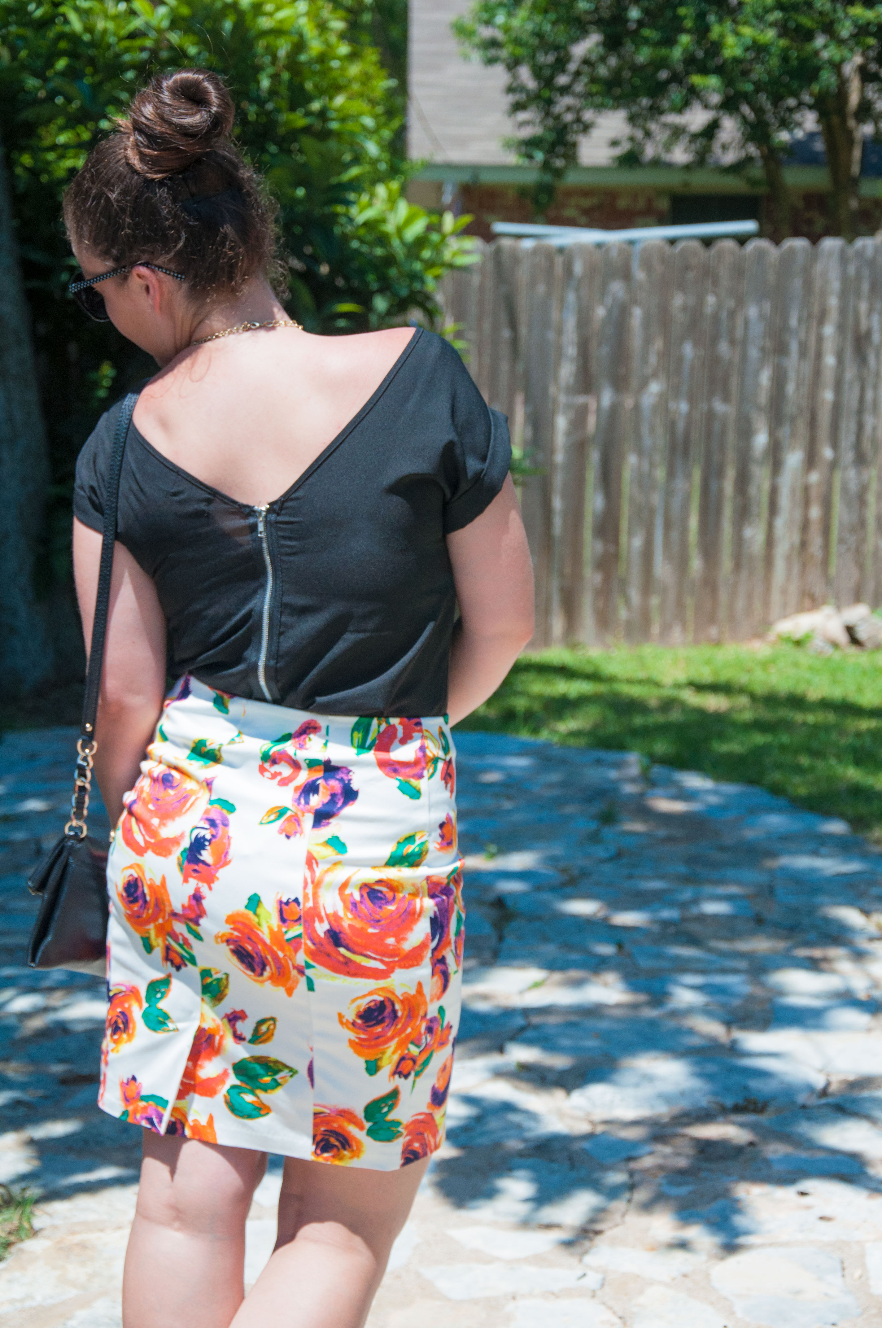 Floral skirt with black top