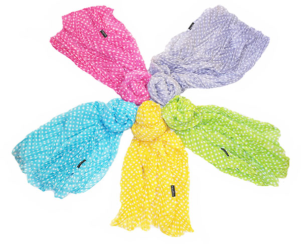 Polka dot scarves in different colors