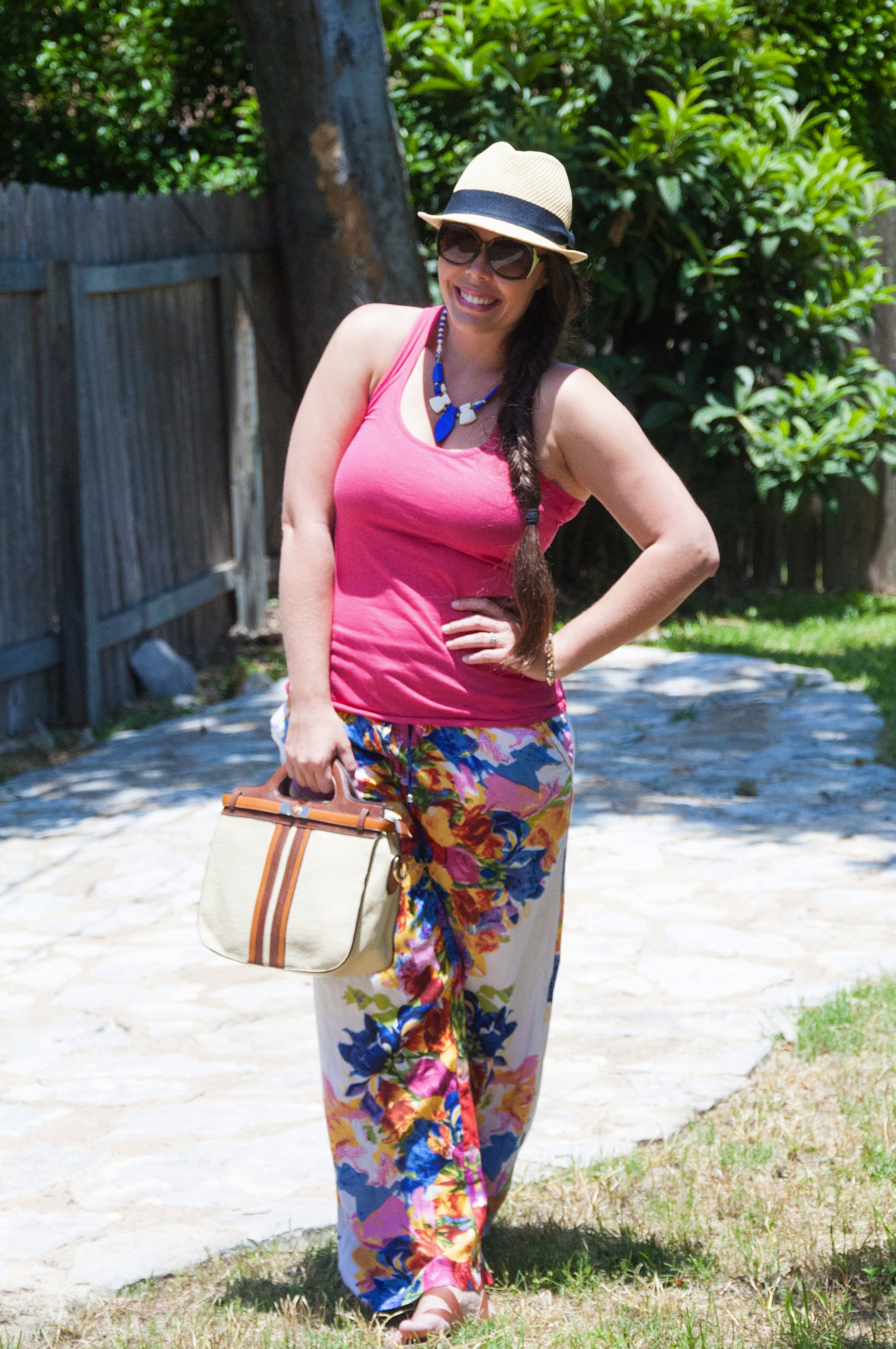 Floral canvas pants and pink top