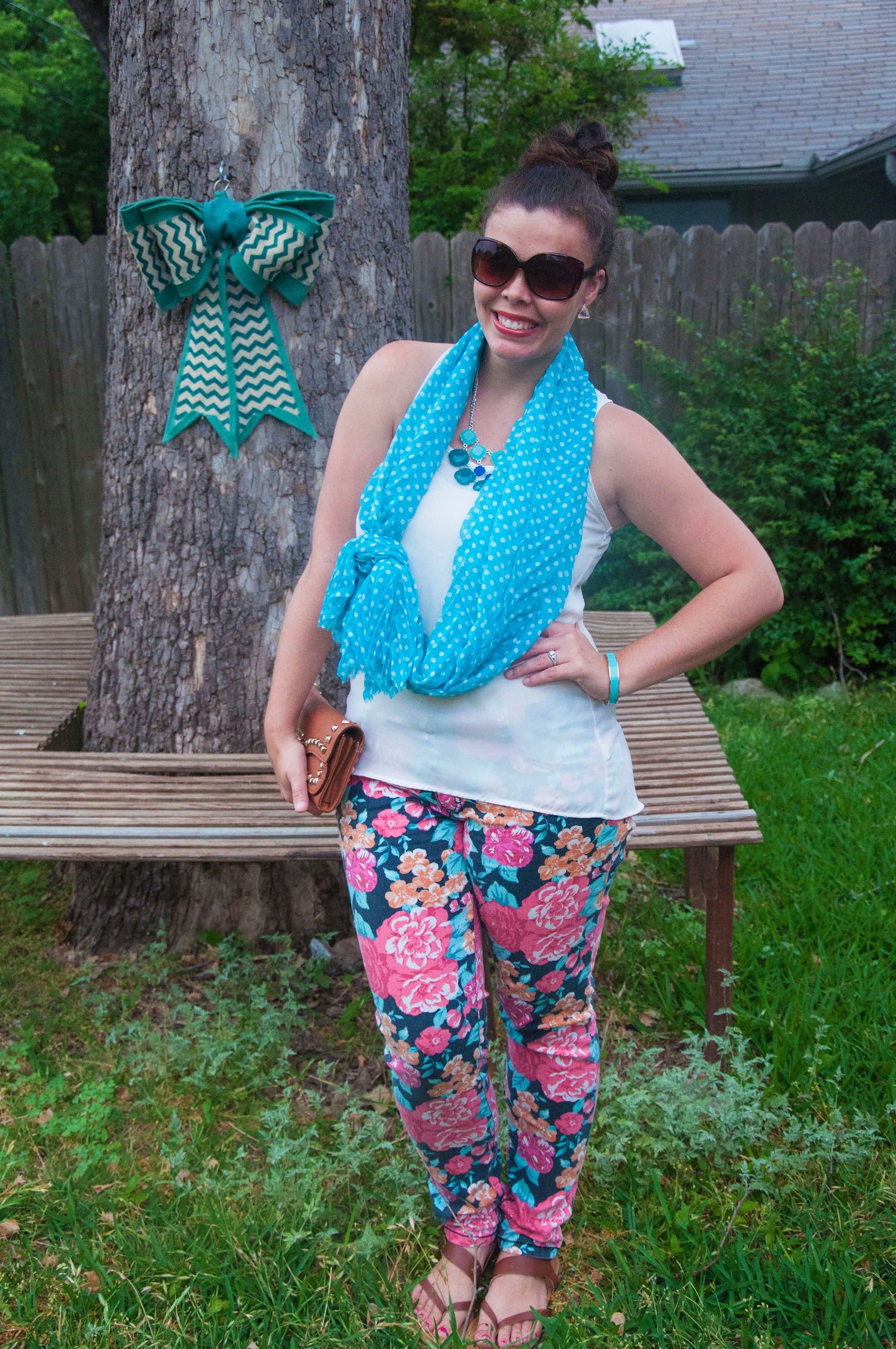 Polka dot scarf and floral pants- How to pattern mix