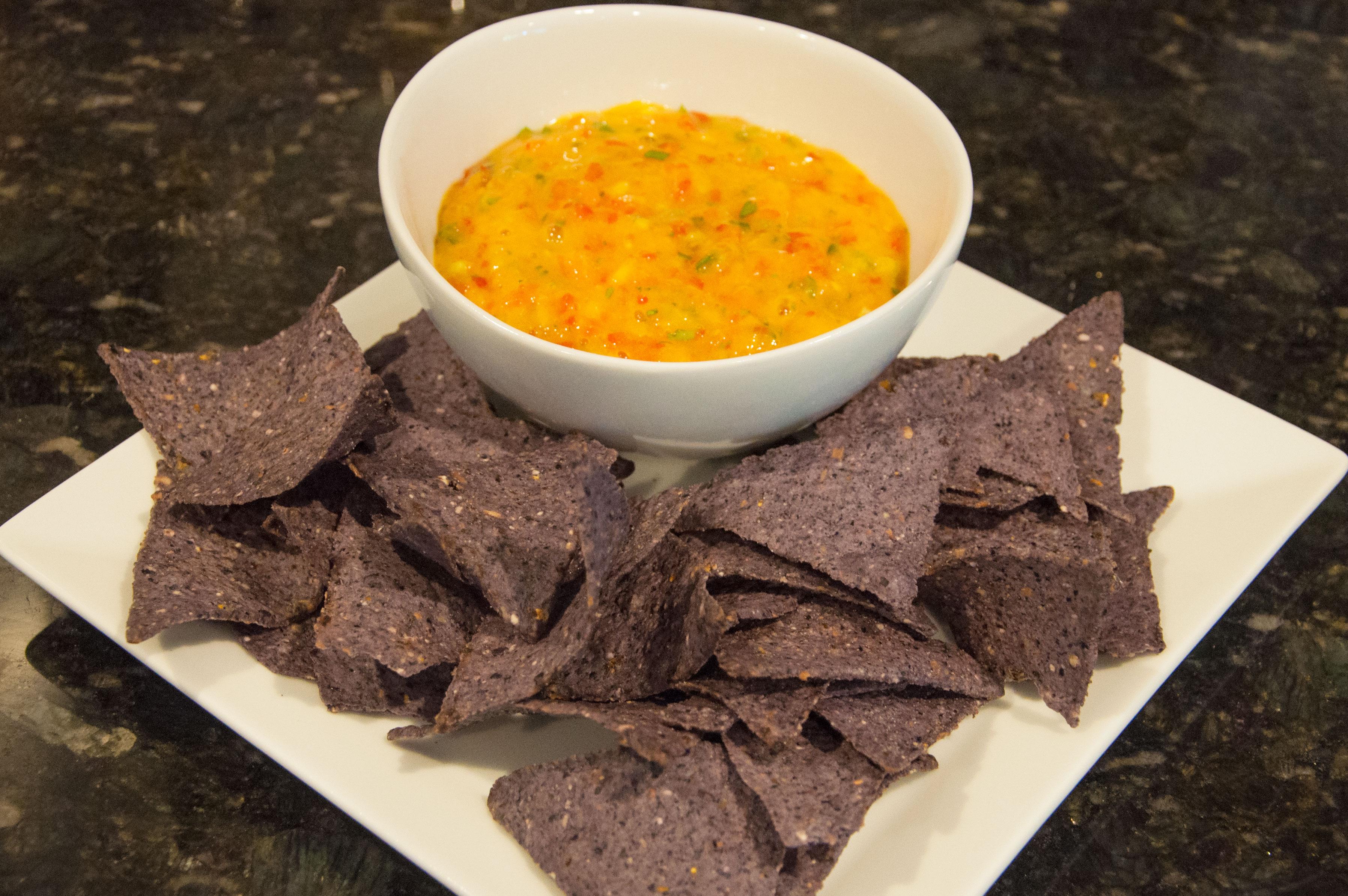 Mango salsa with blue corn chips