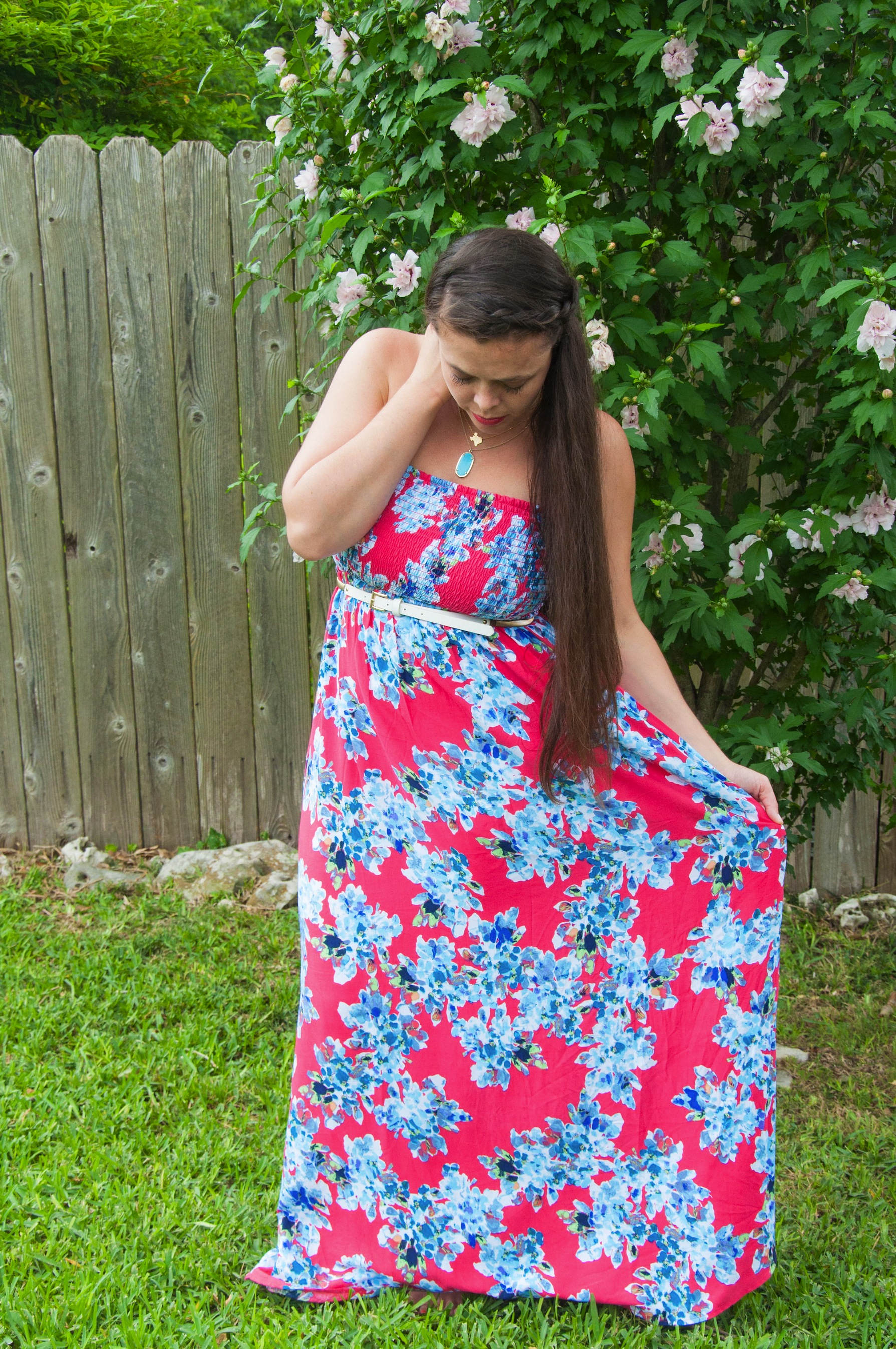 Pink and blue floral maxi dress