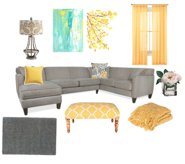 Turquoise And Mustard Living Room