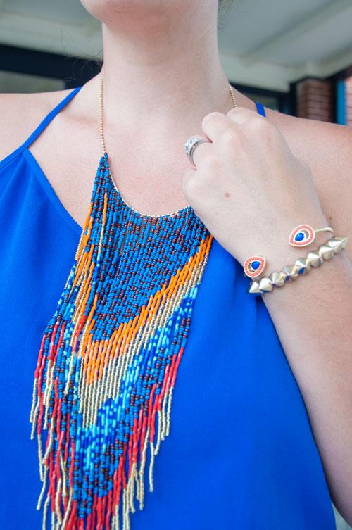 Aztec beads with cobalt blue