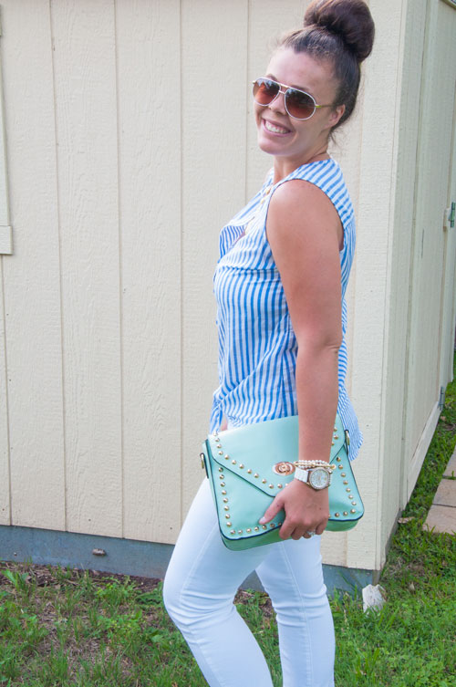 Preppy blue striped top