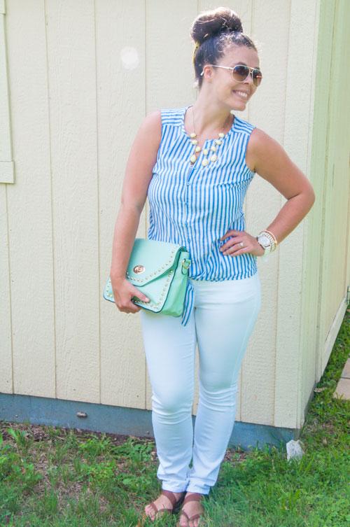 Preppy blue striped top