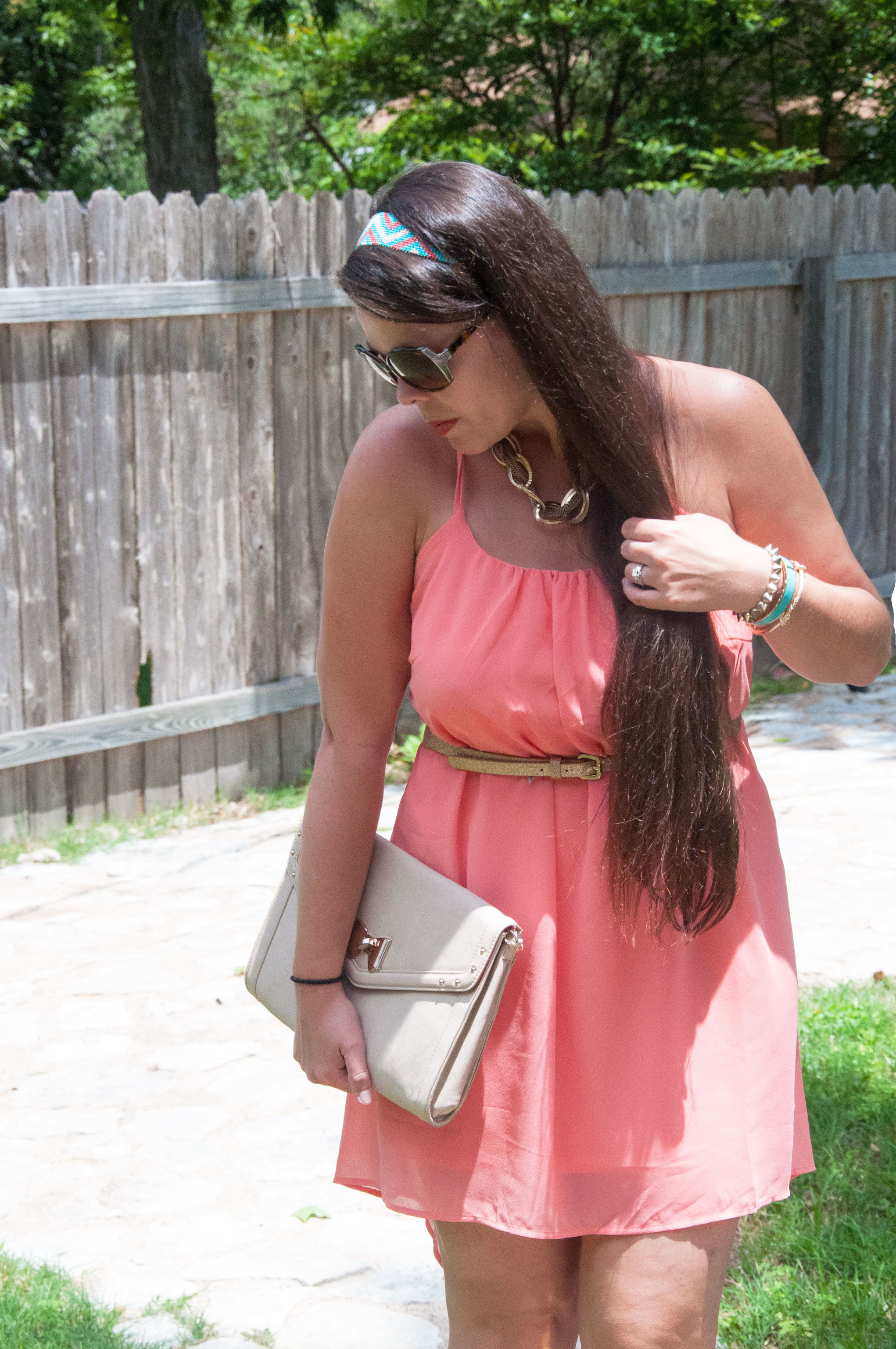Coral dress with southwestern style headband