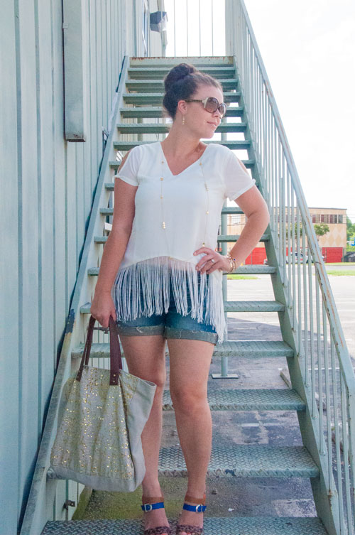 Fringe shirt with denim shorts