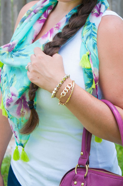 Mint, purple, and lime scarf