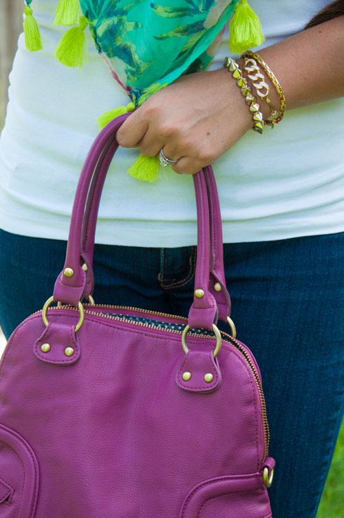 Mint scarf with purple handbag