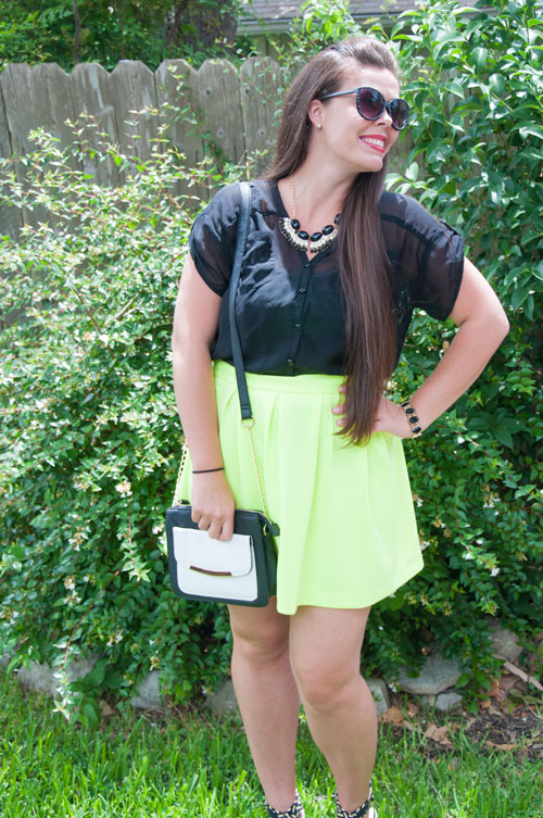 Neon skirt with black top