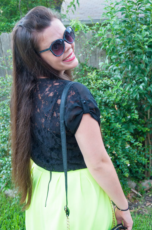 Neon yellow with black lace