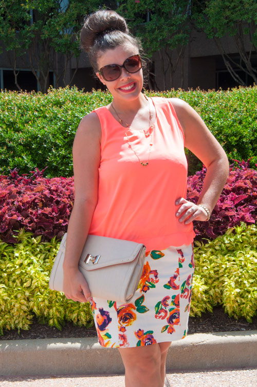 Pencil Skirt with neon top
