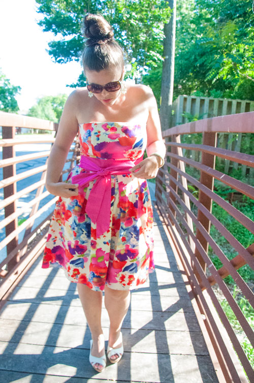 Pink floral dress with a bow