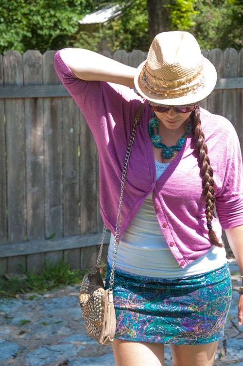 Purple and Teal outfit with fedora