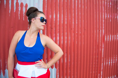 Red white and blue outfit