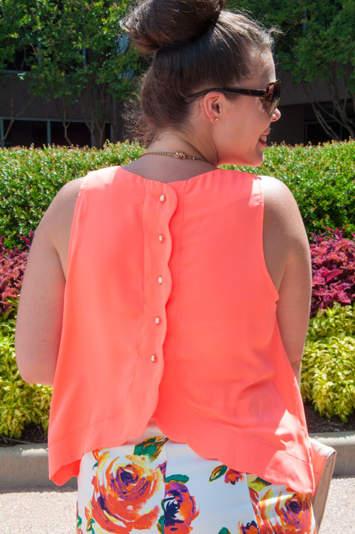 Scalloped Button Back Top