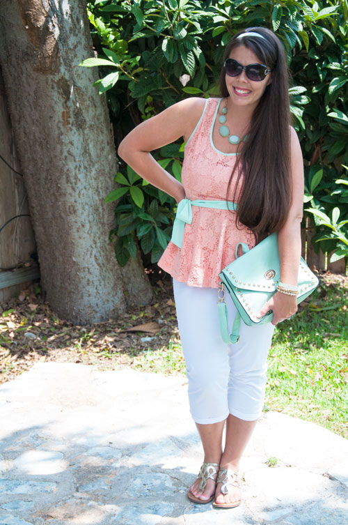 Mint and Peach Peplum top with mint handbag