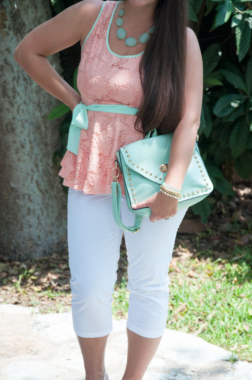 Mint and Peach Peplum with white pants