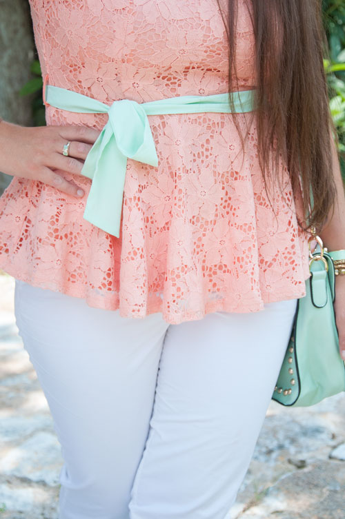 Mint bow on a peach peplum- outfit inspiration