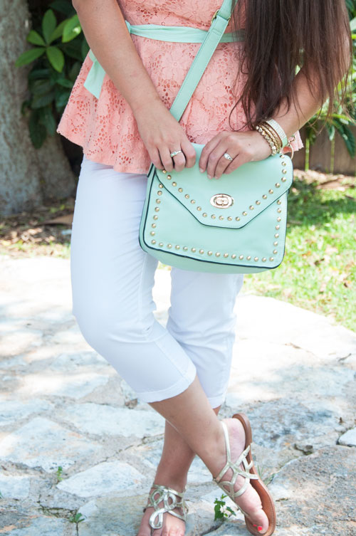 Mint, peach, and white outfit