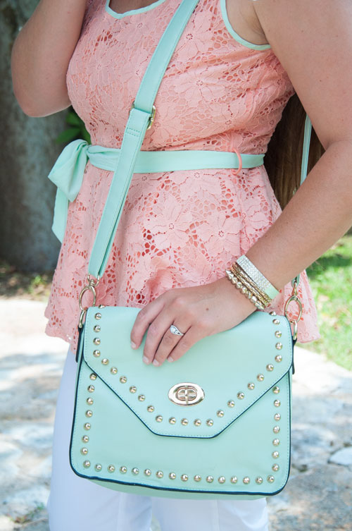 Mint studded Handbag with peach top
